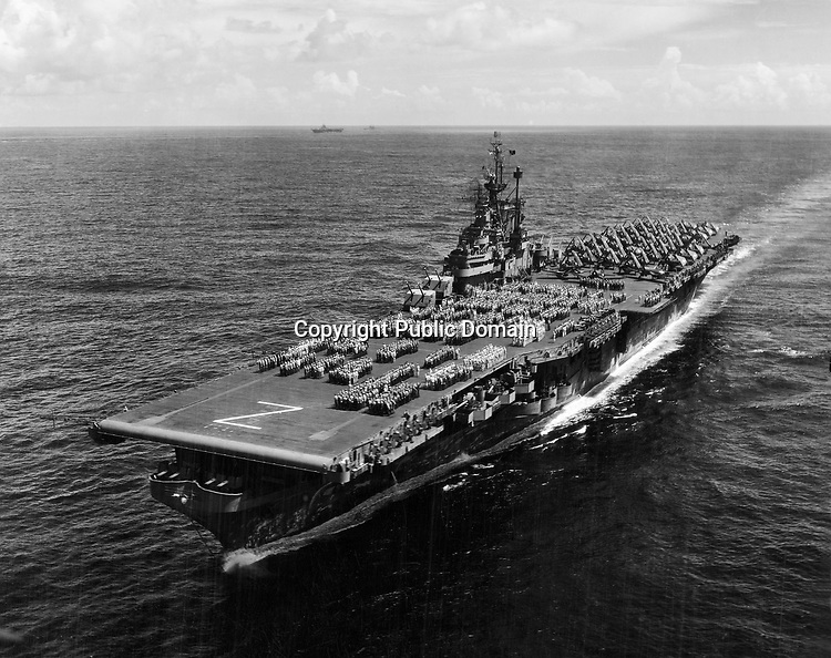 Wade Litzinger's aircraft carrier during WWII, the U.S.S. Shangri-La (CV-38) just after the end of WWII - (labeled Sept. 3, 1945)  - Aug. 17, 1945