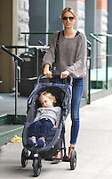 Karolina Kurkova and her son Tobin, in New York City