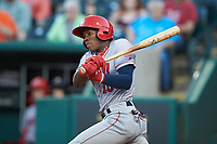 Juan Pascal (10) of the Hagerstown Suns follows through on his swing against the Greensboro Grasshoppers at First National Bank Field on April 6, 2019 in Greensboro, North Carolina. The Suns defeated the Grasshoppers 6-5. (Brian Westerholt/Four Seam Images)
