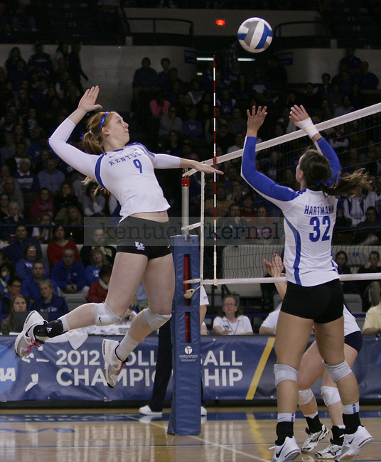 Freshman Sara Schwarzwalder goes for a kill during the University of Kentucky vs East Tennessee State University in the first round of the NCAA Volleyball Tournament in Lexington, Ky., on, 11/30/2012,. Photo by Jared Glover | Staff