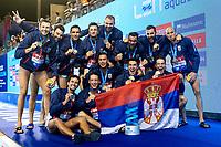 Team SERBIA Gold<br /> Barcelona 28/07/2018 Piscines Bernat Picornell <br /> Men Medal Ceremony <br /> 33rd LEN European Water Polo Championships - Barcelona 2018 <br /> Photo Andrea Staccioli/Deepbluemedia/Insidefoto