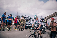 Chris Froome (GBR/SKY) drops all competitors up the gravel roads of the Colle delle Finestre, commiting a coup for the GC with still 80km to go... a solo that will go down in history as one of the biggest turnarounds in recent Grand Tours<br /> <br /> stage 19: Venaria Reale - Bardonecchia (184km)<br /> 101th Giro d'Italia 2018