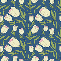 """""""Spring Tulips"""" - A hand illustrated scalable vector surface pattern.<br /> <br /> Suitable to print on various types of surfaces including fabric, wallpapers, stationery, home decor & lifestyle products.<br /> <br /> Contact for commercial/editorial/marketing collaboration for this design. Change requests for colors can be considered."""