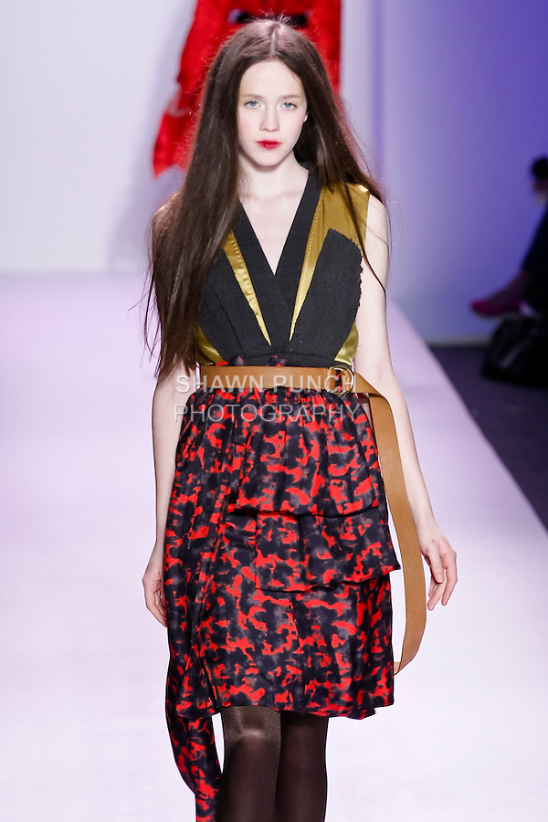 Julia  walks the runway in an outfit by Thuy Diep, for her Thuy Fall Winter 2010 collection fashion show, during Mercedes-Benz Fashion Week Fall 2010.
