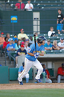 Myrtle Beach Pelicans infielder Pin-Chieh Chen (5) hitting during a game against the Potomac Nationals at Ticketreturn.com Field at Pelicans Ballpark on May 23, 2015 in Myrtle Beach, South Carolina.  Myrtle Beach defeated Potomac 7-3. (Robert Gurganus/Four Seam Images)