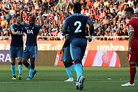 Lucas Moura of Tottenham   is congratulated after scoring the first goal during Girona FC vs Tottenham Hotspur, Friendly Match Football at Estadi Montilivi on 4th August 2018