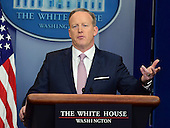 White House Press Secretary Sean Spicer holds his first briefing for the media in the Brady Press Briefing Room of the White House in Washington, DC on Monday, January 23, 2017.<br /> Credit: Ron Sachs / CNP