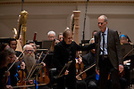 Music Director Ludovic Morlot and composer John Luther Adams with the Seattle Symphony Orchestra after performing John Luther Adams'  Become Ocean in the New York premiere during Spring for Music at Carnegie Hall in New York, NY on May 06, 2014.
