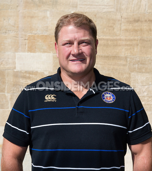 First Team Coach Neal Hatley poses for a portrait at a Bath Rugby photocall. Bath Rugby Media Day on September 8, 2015 at Farleigh House in Bath, England. Photo by: Rogan Thomson for Onside Images