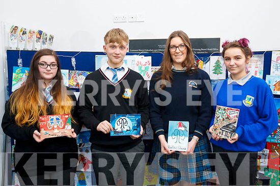 The Students selected for the Kerry ETB Christmas card competition, l to r: Emilia Girasole (Coaiste na Riochta), Conor Hope (Colaiste na Riochta), Caiomhe Curran (Colaiste na Sceilge) and Agna Arl Auskaite (Castleisland Community College).