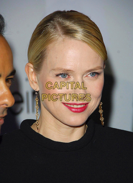 NAOMI WATTS.Attending a presentation of Calvin Klein's new collection at P3, Marylebone Road, London, England, .October 15th 2007..party portrait headshot red lipstick earrings.CAP/CAS.©Bob Cass/Capital Pictures.