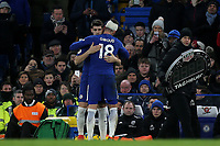 Chelsea's Alvaro Morata gives Olivier Giroud a hug as he replaces him in the second half during Chelsea vs West Bromwich Albion, Premier League Football at Stamford Bridge on 12th February 2018