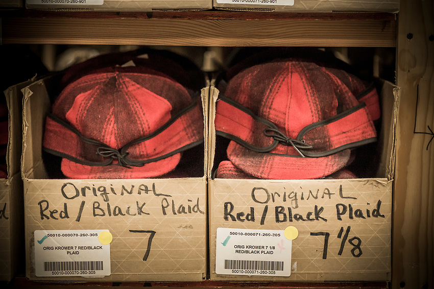 Detail of finished hats at the Stormy Kromer production facility in Ironwood, Michigan.