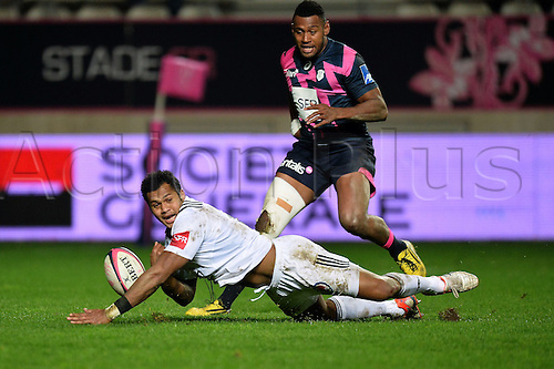 19.02.2016. Paris, France. Top 14 rugby union. Stade Francais versus Brive.  Sevanaia Galala (bri) goes over for the try