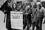 "Gay Liberation Front. Demonstration by Gay and Lesbian activists against Pan books. Central London 1971. Sex Doctor David Reuben publication of his book, ""Everything You Always Wanted To Know About Sex"", which suggested that all gay men were ""obsessed with shoving vegetables up their ..."""