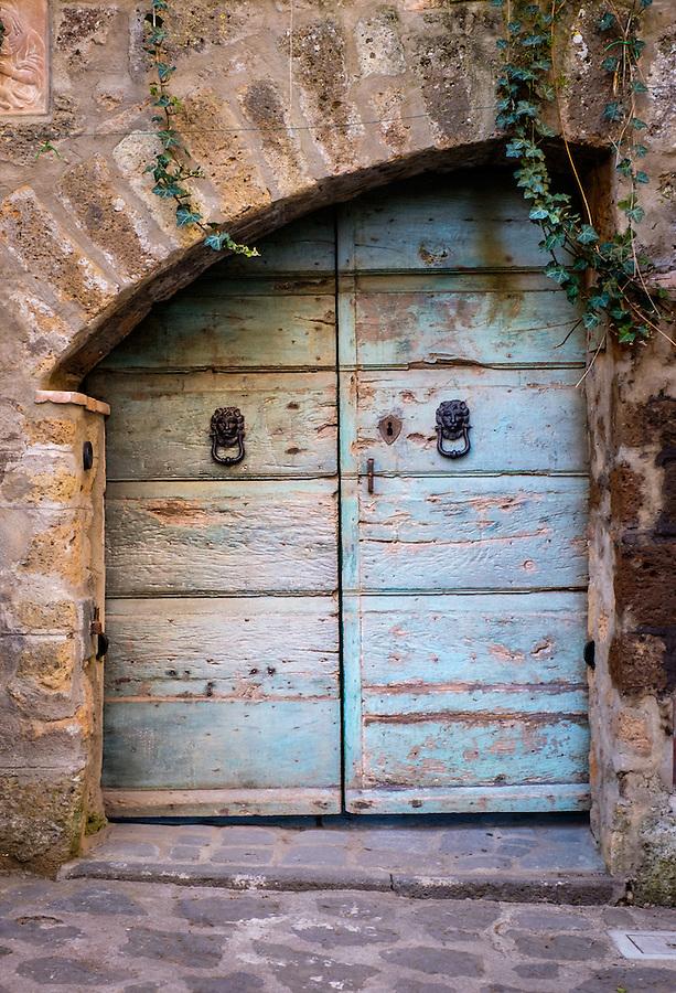 CIVITA DI BAGNOREGIO ITALY - CIRCA MAY 2015: Old rusted door in Civita di Bagnoregio.