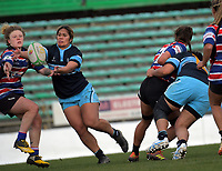 Maggie Leota takes an intercept to score during the 2019 Manawatu premier women's club rugby Prue Christie Cup final match between Feilding Old Boys Oroua and Kia Toa at CET Arena in Palmerston North, New Zealand on Saturday, 13 July 2019. Photo: Dave Lintott / lintottphoto.co.nz