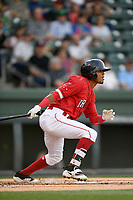 Second baseman Kervin Suarez (36) of the Greenville Drive bats in a game against the Rome Braves on Friday, April 13, 2018, at Fluor Field at the West End in Greenville, South Carolina. Rome won, 10-6. (Tom Priddy/Four Seam Images)
