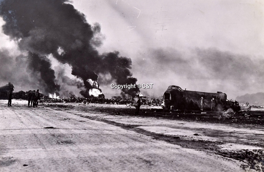 BNPS.co.uk (01202 558833)<br />Pic: C&T/BNPS<br /><br />Aftermath of a German raid on St Denijs Westren airfield near Ghent in Belgium.<br /> <br /> A fascinating photo album has sold for £1200 at auction - the previously unseen photographs chart the wartime career of Polish aristocrat Antoni Lipkowski -revealing how the emigree from Nazi Europe became a fighter pilot in the RAF.<br /> <br /> Flight Lieutenant Antoni Lipkowski escaped Poland when Germany invaded in 1939 and was desperate to join in the fight against the Nazis.<br /> <br /> Previously a cavalry officer, he retrained as a pilot and joined one of the Polish squadrons based in Britain which did such sterling work defending these skies in World War Two.<br /> <br /> Flt Lt Lipkowski, of 316 Polish Fighter Squadron, was very tall for a pilot and turned heads with his 'handsome' appearance.<br /> <br /> There are images of him in the cockpit of his Spitfire and posing nonchalantly in front of it with a cigarette in his hand.