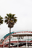 USA, California, San Diego, people enjoying a ride on the Belmont Park Rollercoaster