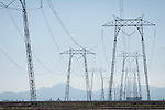 Power transmission towers, flooded rice fields, Sutter Buttes, California.