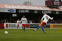 Joan Luque of Dagenham and Redbridge scores the fourth goal for his team and celebrates during Dagenham & Redbridge vs Aldershot Town, Vanarama National League Football at the Chigwell Construction Stadium on 16th November 2019