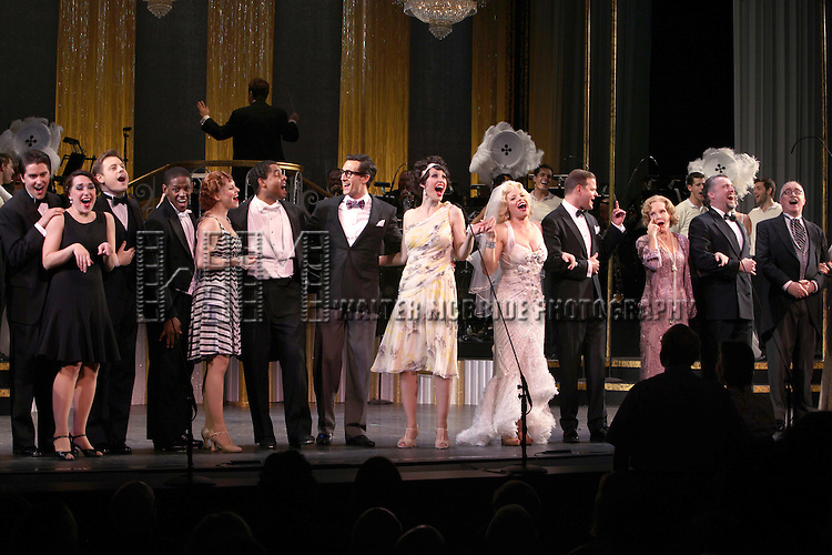 Aaron Lazar, Rachel York, Megan Hilty, Clarke Thorell, Deborah Rush, Stephen R. Buntrock & Ensemble.during the final performance Curtain Call for the New York City Center ENCORES! Production of 'Gentlemen Prefers Blondes' at City Center in New York City on 5/13/2012.