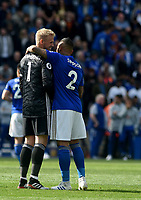Leicester City's Kasper Schmeichel and Danny Simpson share a moment at the end of the match <br /> <br /> Photographer Hannah Fountain/CameraSport<br /> <br /> The Premier League - Leicester City v Chelsea - Sunday 12th May 2019 - King Power Stadium - Leicester<br /> <br /> World Copyright &copy; 2019 CameraSport. All rights reserved. 43 Linden Ave. Countesthorpe. Leicester. England. LE8 5PG - Tel: +44 (0) 116 277 4147 - admin@camerasport.com - www.camerasport.com