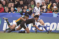 New Zealand centre Robert Fruean score the opening try during the U19 Championship final against South Africa at Ravenhill, Belfast.