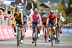 The main contenders Primoz Roglic (SLO) Team Jumbo-Visma, race leader Richard Carapaz (ECU) Movistar Team Maglia Rosa and Vincenzo Nibali (ITA) Bahrain-Merida cross the finish line of Stage 19 of the 2019 Giro d'Italia, running 151km from Treviso to San Martino di Castrozza, Italy. 31st May 2019<br /> Picture: Massimo Paolone/LaPresse | Cyclefile<br /> <br /> All photos usage must carry mandatory copyright credit (© Cyclefile | Massimo Paolone/LaPresse)