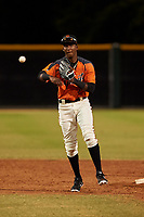 AZL Giants Orange shortstop Marco Luciano (10) throws to first base during a game against the AZL Angels at Giants Baseball Complex on June 17, 2019 in Scottsdale, Arizona. AZL Giants Orange defeated AZL Angels 8-4. (Zachary Lucy/Four Seam Images)