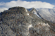 Eagle Cliff covered in snow from Artists Bluff in Franconia Notch State Park of the New Hampshire White Mountains.