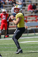 College Park, MD - April 27, 2019: Maryland Terrapins quarterback Max Bortenschlager (18) passes the ball during the spring game at  Capital One Field at Maryland Stadium in College Park, MD.  (Photo by Elliott Brown/Media Images International)