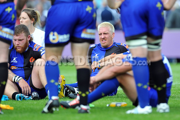 Andy Powell looks on at half-time. Pre-season friendly match, between Bristol Rugby and Newport Gwent Dragons on August 17, 2014 at the Cribbs Causeway Ground in Bristol, England. Photo by: Patrick Khachfe / JMP