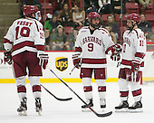 Jimmy Vesey (Harvard - 19), Luke Esposito (Harvard - 9), Kyle Criscuolo (Harvard - 11) - The Harvard University Crimson defeated the visiting Rensselaer Polytechnic Institute Engineers 5-2 in game 1 of their ECAC quarterfinal series on Friday, March 11, 2016, at Bright-Landry Hockey Center in Boston, Massachusetts.