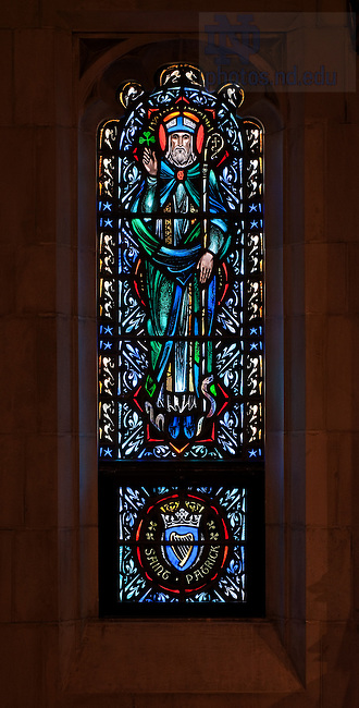 Stained glass window in the Dillon Hall Chapel depicting St. Patrick...Photo by Matt Cashore/University of Notre Dame