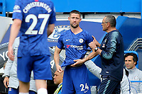 Chelsea Manager, Maurizio Sarri, gives Gary Cahill his instructions prior to coming on as a second half substitute during Chelsea vs Watford, Premier League Football at Stamford Bridge on 5th May 2019