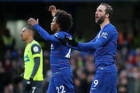 Gonzalo Higuain and Willian of Chelsea show their frustration in the first half during Chelsea vs Huddersfield Town, Premier League Football at Stamford Bridge on 2nd February 2019
