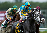 SARATOGA SPRINGS, NY- AUGUST 03: Gidui with John Velazquez up races at Saratoga Racecourse on August 3, 2018 in Saratoga Springs, New York.(Photo by Alex Evers/Eclipse Sportswire)