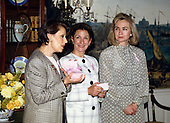 "First lady Hillary Rodham Clinton makes remarks at the launch of the ""Pink Ribbon"" Breast Cancer Awareness Campaign in the Diplomatic Room of the White House in Washington, D.C. on Thursday, May 13, 1993.  Alexandria Penney, Editor-in-Chief, ""Self Magazine"" and Evelyn H. Lauder, Senior Corporate Vice President, Estée Lauder Companies, and Chairman, Breast Cancer Research Foundation, look on from left.<br /> Credit: Ron Sachs / CNP"