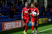 Dale Gorman of Leyton Orient and Jordan Maguire-Drew during the The Leasing.com Trophy match between AFC Wimbledon and Leyton Orient at the Cherry Red Records Stadium, Kingston, England on 8 October 2019. Photo by Carlton Myrie / PRiME Media Images.