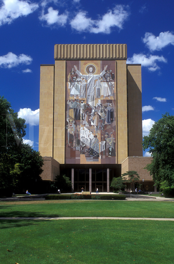 South Bend, Indiana, Notre Dame University, A celestial mural painted on the outside of the Hesburgh Library on the University of Notre Dame campus in South Bend.