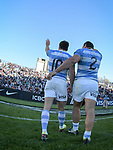 06/09/2018. Malvinas Argentinas Stadium, Mendoza, Argentina. The Rugby Championship 2018, Round 2, Los Pumas beat the Spingboks at home 32 to 19. Nicolas Sanchez (10) and Agustin Creevy (2) celebrating with supporters after the match. /Maximiliano Aceiton/Trysportimages