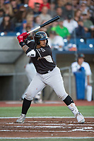 Salem-Keizer Volcanoes catcher Ricardo Genoves (9) at bat during a Northwest League game against the Hillsboro Hops at Ron Tonkin Field on September 1, 2018 in Hillsboro, Oregon. The Salem-Keizer Volcanoes defeated the Hillsboro Hops by a score of 3-1. (Zachary Lucy/Four Seam Images)