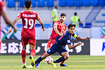 Teerasil Dangda of Thailand (R) competes for the ball with Hamad Mahmood Alshamsan of Bahrain during the AFC Asian Cup UAE 2019 Group A match between Bahrain (BHR) and Thailand (THA) at Al Maktoum Stadium on 10 January 2019 in Dubai, United Arab Emirates. Photo by Marcio Rodrigo Machado / Power Sport Images