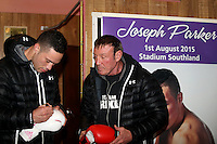 Joseph Parker and Kevin Barry during a training session prior to his fight against WBO African Champion and world number 13 Australian Bowie Tupou at ILT Stadium Southland on August 1st, Invercargill, New Zealand, Thurssday, July 30, 2015. Credit:NINZ / Dianne Manson