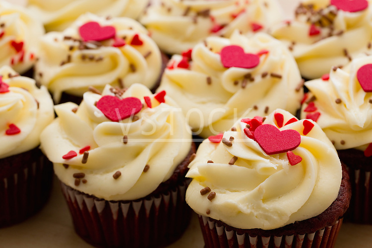 Cupcakes with Valentine's Day decoration