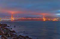 Golden Gate Bridge, San Francisco, California at night.