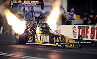Oct. 31, 2008; Las Vegas, NV, USA: NHRA top fuel dragster driver Tony Schumacher launches during qualifying for the Las Vegas Nationals at The Strip in Las Vegas. Mandatory Credit: Mark J. Rebilas-