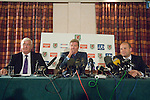 John Toshack announces that he is stepping down from his post as Manager of the Wales National Football team during a press conference at the Vale Hotel in Cardiff, UK. He is pictured alongside Phil Pritchard, President of the Football Association of Wales (left) and  FAW Chief Executive Jonathan Ford (right).